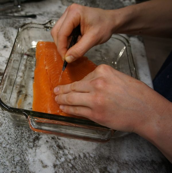 pulling salmon pin bones